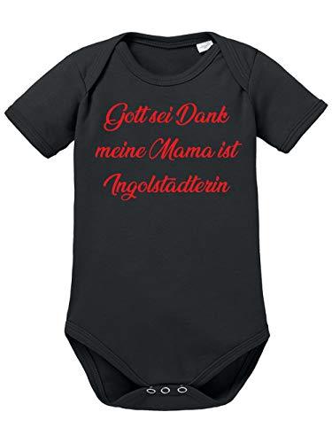clothinx Gott sei Dank, Meine Mama ist Ingolstädterin, Lustiges Fussballmotiv Baby Body Bio Schwarz Gr. 74-80
