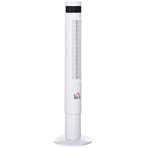 HOMCOM Ventilatore a Colonna Piantana Rotonda, Oscillante 85° con Telecomando e Timer 12h, 3 Velocità e 3 Programmi, Bianco, 50W, Φ30 x 110cm