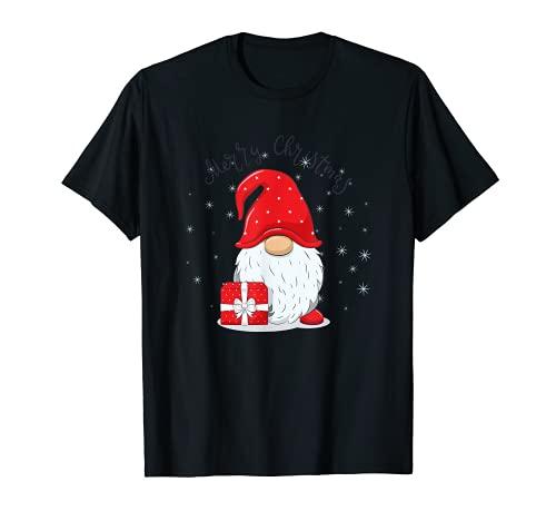 Lindo gnomo alegre con frase feliz navidad Camiseta
