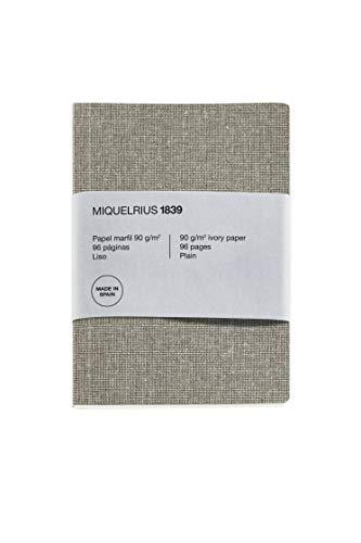 Miquel Rius - Cuaderno Reciclado Bonito, Cubierta de Papel con Aspecto Lino, Tamaño A5 148 x 210 mm, 96 Páginas Lisas de 90 g/m² de Color Marfil, Diseño Lino