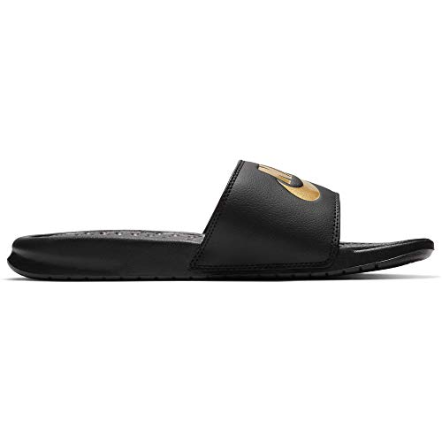 Nike Men's Benassi Just Do It Athletic Sandal, black/metallic gold, 11 Regular...