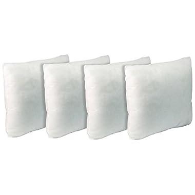 California Pillow 18  x 18 , SET OF FOUR Premium Hypoallergenic FIRM Throw Pillow Insert Stuffer Pillow Insert, White - MADE IN USA