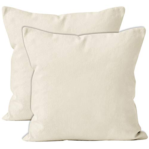Encasa Homes Throw Cushion Cover 2pc Set - Natural - 20 x 20 inch Solid Dyed Cotton Canvas Square Accent Decorative Pillow Case for Couch Sofa Chair Bed & Home
