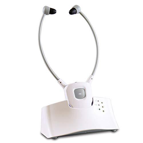 maxVitalis Kinnbügel Kopfhörer für Tv mit Akku (Betriebsdauer 6 Stunden), kabellose Funkkopfhörer für Senioren, 2.4GHz Übertragungsfrequenz, Lautstärke seperat einstellbar, 30 m Reichweite, Weiß