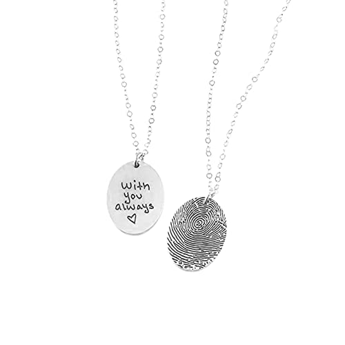 Ulikelife Fingerprint Handwritten Necklace, Woman Funeral Jewelry 925 Sterling Silver Round Pendant Memorial Hall Fingerprint Jewelry Commemorative Gift Sliver