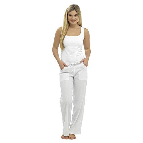 femmes lin pantalon pantalon décontracté coupe décontracté taille 10 12 14 16 18 - Blanc, EU 42