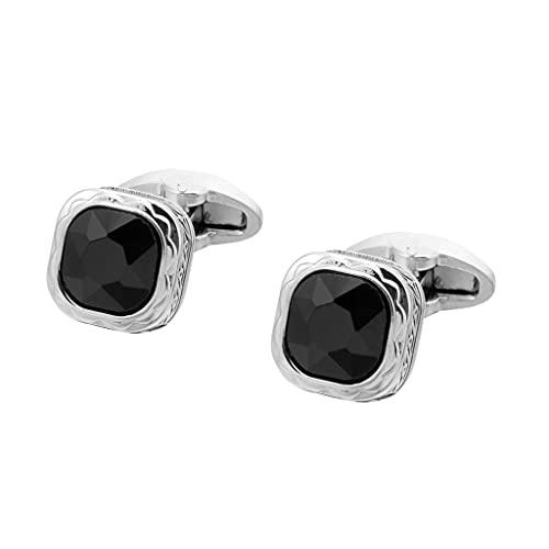 Aiglen Camisa de Hombre Cuadrada circonita Negra Estampada Plateada Camisa Francesa Botones puños Botones de uñas