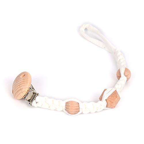 Chou Baby Schnuller Clip Kette Baumwolle gewebt Holzperlen Beißring Molar Schnullerhalter