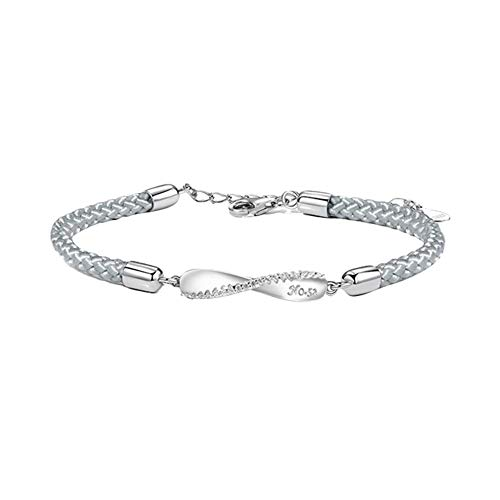 DIKOPRO Couple Bracelets, Couple Distance Bracelets, Couple Bracelets His and Hers, Love Bracelets For Couples, Sterling Silver Simple Couple Bracelet(Women's Grey Rope White Gold 925 Silver)