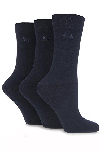 Pringle Damen 3 Paar Plain Jean Gentle Grip Socken aus Baumwolle 4-8 Damen Navy