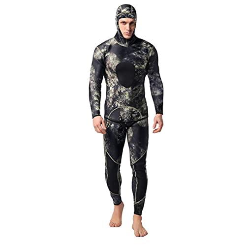Buceo Juego De Los Hombres De Neopreno con Capucha Caliente Traje De Camuflaje 3mm De Split Scuba Snorkel Traje De Baño Que Practica Surf del Mono Verde Negro XXXL