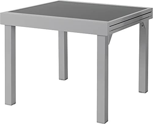 ib style - Diplomat Quadro Silber Ausziehtisch 90-180 cm | Premium Gartentisch | Anti Fingerprint | Frozen Glas