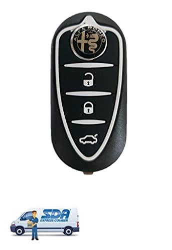 Chiave Tutti I Colori per Telecomando Alfa Romeo Mito Giulietta Guscio con Lama a 3 Tasti + Logo (Nero+Logo Nero)