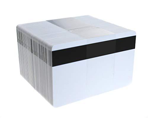 PerfectID - 100 cartellini identificativi in plastica PVC di alta qualità ISO CR80 con striscia magnetica Hi-Co di dimensioni 86 x 54 mm (formato carta di credito) e 760 micron di spessore. bianco