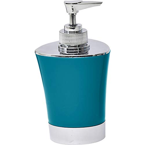 EVIDECO 6218N119 Bath Soap and Lotion Dispenser-Chrome Parts-Peacock Blue, 3.15 L x 3.15 W x 5.91 H