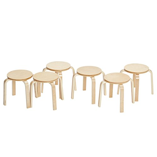 ECR4Kids Bentwood Stacking Stools for Kids, Durable Round Nesting Stools,...