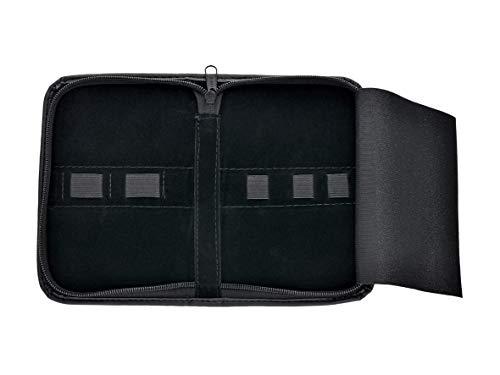 Etui- Kleine Tasche- Reise Aufbewahrungs Etui aus Leder- universal Tasche mit Reißverschluss- 5 Laschen- für Nagelzangen- Nagelscheren- Haarscheren und vieles mehr! (5 Laschen)
