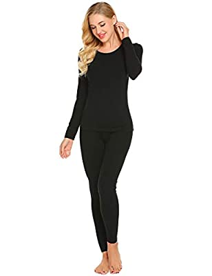 Ekouaer Thermal Underwear Women's Cotton Long Johns Set Scoop Neck Top & Bottom Pajama Winter Base Layering Set, Black, Large