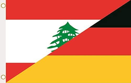 U24 Flagge Fahne Libanon-Deutschland 90 x 150 cm