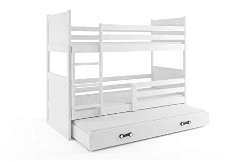 Litera triple (3 personas) RICO 200X90 , blanco - blanco , con somieres y colchones de espuma (dos- 200x90 y del cajón- 190x80) GRATIS