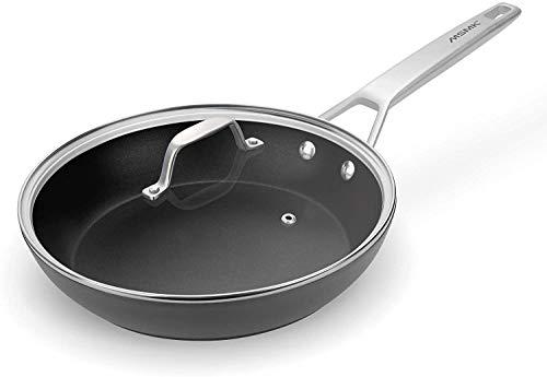 MSMK Bratpfanne mit Deckel, antihaftbeschichtet, Omelettpfanne für Induktionsherd, 26 cm, PFOA-frei, ofenfest, spülmaschinenfest, kratzfeste Diamantbeschichtung, schwarz