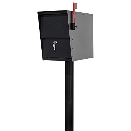 LSLM-2000-PST Lettersentry Rust Free Galvanized Steel Locking Mailbox with 3' Diameter Mounting Post, Ships in 2 Boxes, Black