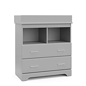 Storkcraft Brookside 2 Drawer Changing Table Chest – Attached Changing Table Topper Fits Any Standard-Size Baby Changing Pad, 2 Drawers, 2 Shelves for Extra Nursery Storage, Pebble Gray