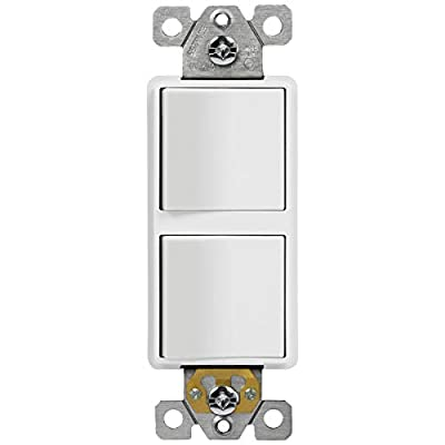 ENERLITES Double Paddle Rocker Decorator Switch, Ground terminal, Clamp-Type Back Insert Wiring, Copper Wires Only, Single Pole, Residential Grade, 15A 120-277VAC, 62834-W-N, White (New Model)