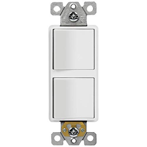 ENERLITES Double Paddle Rocker Decorator Switch, Clamp-Type Back Insert Wiring, Copper Wires Only, Single Pole, Residential/Commercial Grade, 15A 120-277VAC, 62834-W-N, White (New Model)