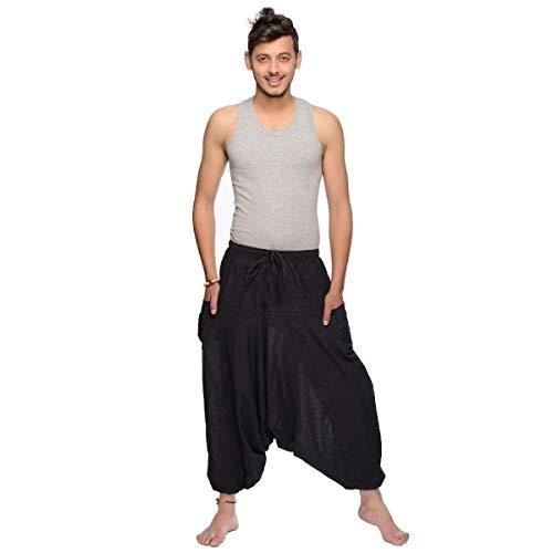 Haremshose Pumphose Aladinhose Pluderhose Yoga Goa Sarouel Baggy Freizeithose Singharaja Herren Farbe Schwarz, Größe One Size