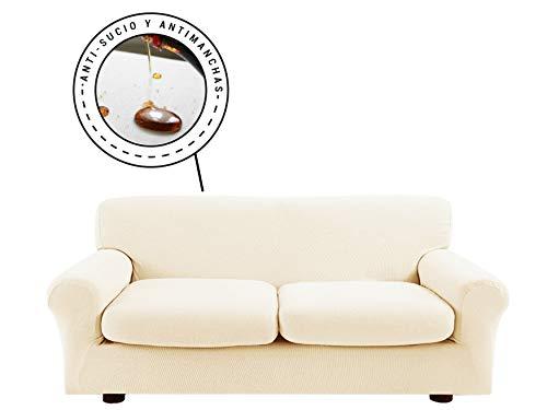 Banzaii Funda Sofa Elastica con Funda Asiento Impermeable – Cubre Sofa con Cojin – Protector Sofa con Asiento Separado - Poliéster (VR.12 Crema, Sofá 2 plazas y 2 cojínes de Asiento 110-150 cm)