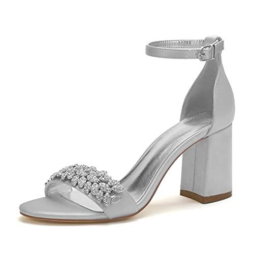 Mujer Zapatos De Novia Sandalias De Verano con Punta Abierta Satén Diamante...