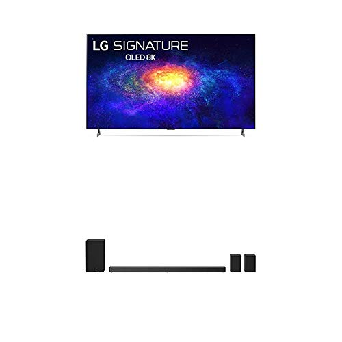 """LG Signature OLED77ZXPUA Alexa Built-in ZX 77"""" 8K Smart OLED TV (2020) with LG SN11RG 7.1.4 ch 770W High Res Audio Sound Bar with Dolby Atmos, Surround Speakers, Black"""