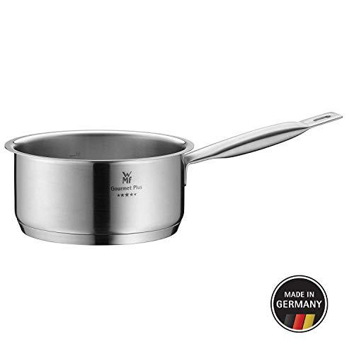 WMF Gourmet Plus Stielkasserolle, 16 cm, ohne Deckel, Kochtopf 1,4l, Cromargan Edelstahl mattiert, Innenskalierung, Topf Induktion, unbeschichtet
