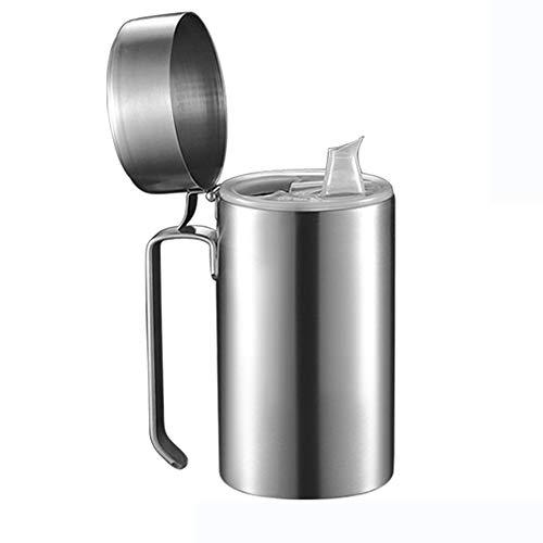 Filtro De Aceite De Cocina De Acero Inoxidable De 0,6 L / 0,8 L / 1 L, Cartucho De Filtro De Grasa, con Filtro De Poros Finos Y Tapa, Adecuado para Almacenar Aceite De Freír Y Grasa De Cocina