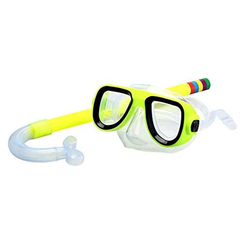 ZHANGXJ Seguro 2 Piezas Easybreath Gafas de Bucear Niños Máscara de Buceo Máscara Snorkel Tubo Respirador Anti-Niebla Gafas de Natación Set de Buceo 3-10 Años de Edad Antideslizante (Color : Yellow)