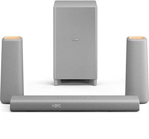 Philips Zenit Home Cinéma 3.1 avec Bluetooth & NFC, HDMI ARC, caisson de basses sans fil, HDMI 4K, 340W, Argent/Bois