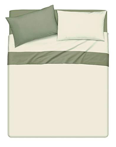 Completo letto lenzuola bicolor in cotone made in Italy MATRIMONIALE Beige/Salvia