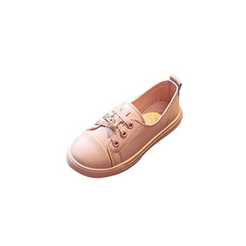 Hanone Primavera Casual Bebé Niñas con Cordones Zapatos Escotados Antideslizantes Resistente al Desgaste Rosa 27
