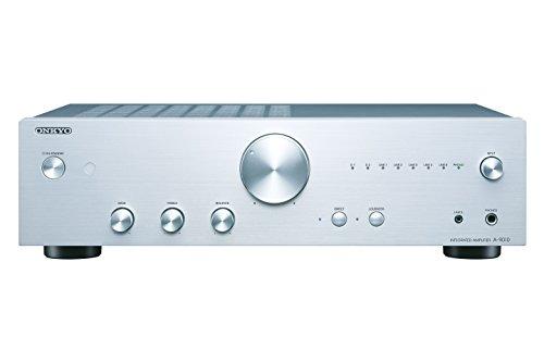Onkyo A-9010(S) Stereo-Vollverstärker (44 W/Kanal Ausgangsleistung , WRAT, Phono-Eingang (MM), Kopfhöreranschluss (6,3mm Klinke), Bananenstecker geeignete Lautsprecheranschlüsse), silber