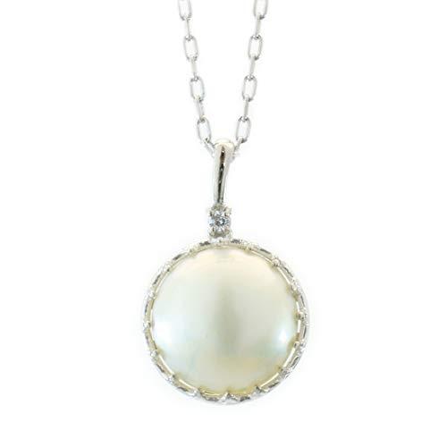 [ココカル]cococaru プラチナ Pt900 マベパール 一粒 ダイヤモンド ネックレス 0.01ct ペンダント 天然 ダイヤモンド マベ真珠 日本製