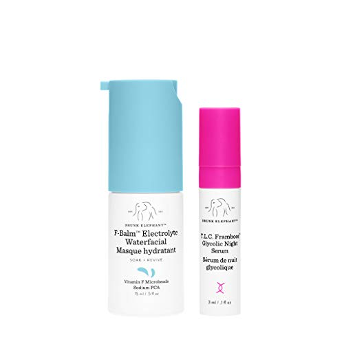 Drunk Elephant F-Balm Electrolyte Waterfacial – 15ml. Quenching and Strengthening Overnight Mask with TLC Framboos Glycolic Night Serum