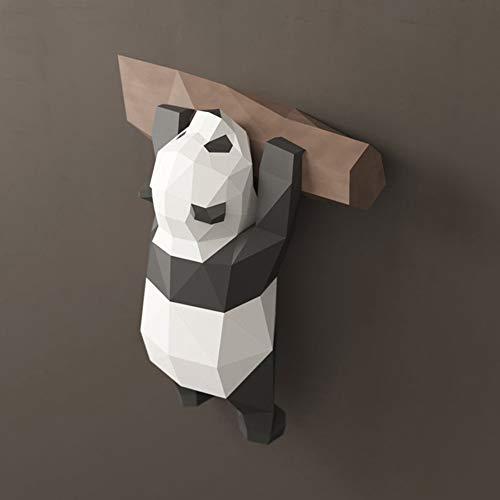 FAEIO Creativo Moderno Paper Craft DIY Modelo 3D Papel Panda Comiendo Bambú Modelo de Papel 3D Panda geométrico Adecuado para niños Mayores de 14 años (Papel Iridiscente) C Origami Wall Decoration