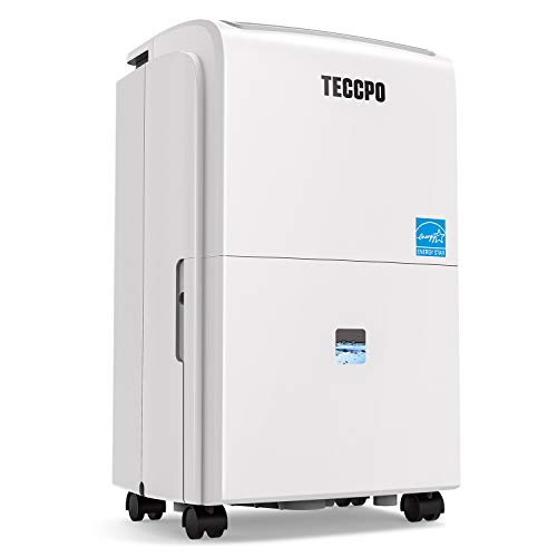 TECCPO 2500 Sq.Ft Dehumidifier TAD30B, Energy Star Dehumidifier for Basements with 1 Gal(3.8L) Water Tank, Intelligent Humidity Control and 24H Timer