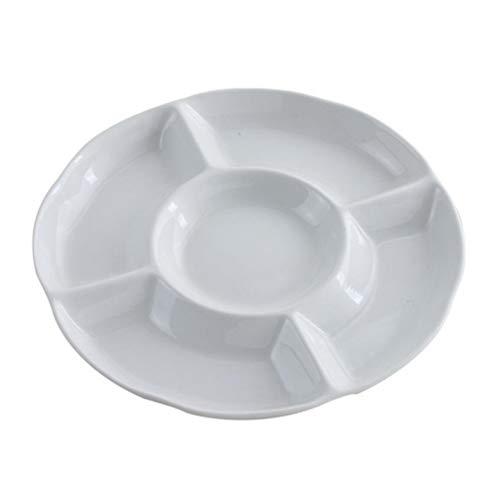 BESTonZON Dip/Snack Schalen, Rundes Plastik Tablett Lebensmittel Obst Süßigkeiten Tablett Vorspeise Servierplatte mit 5 Fach (9 Zoll 23 x 2,8,Weiß)