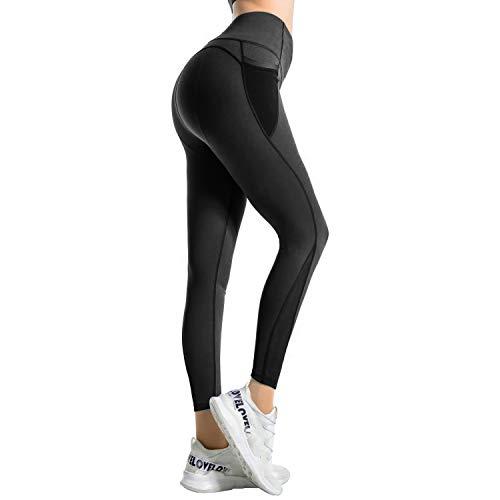 RaMokey Damen Leggings Sport Leggins Yoga Pants Sporthose Fitness Yogahose Fitnesshose mit Taschen