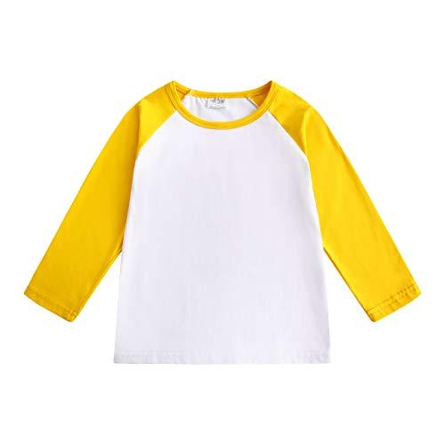 CREATOR Toddler Baby Girls Boys Long Sleeve Shirts Raglan Shirt Baseball Tee Cotton T-Shirt (Yellow, 4 T)