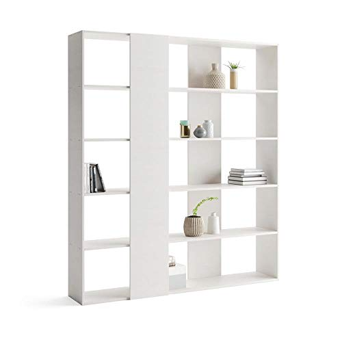 Mobili Fiver, Libreria Rachele, Frassino Bianco, 178 x 36 x 204 cm, Nobilitato, Made in Italy, Disponibile in Vari Colori