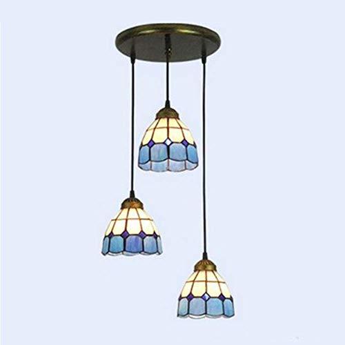 HLY Lámpara de sala de estar moderna, lámpara colgante de estilo Tiffany, pantalla para restaurante, pantalla de cristal con base E27, lámpara colgante de montaje semi empotrado, iluminación para pas