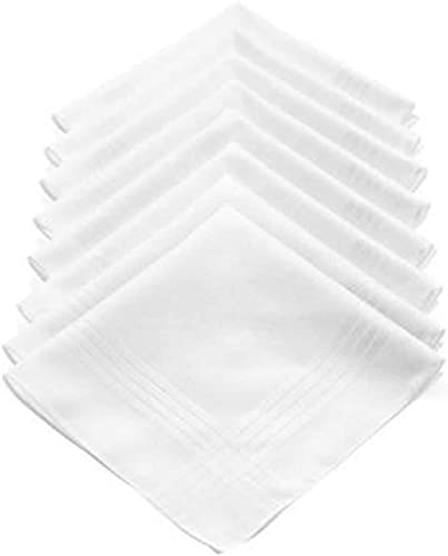 LONGJIQ Hombre Liso Blanco algodón pañuelos Ricos Fantastic